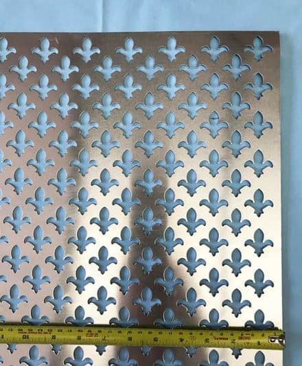 fleur de lys grille anodised silver finish perforated screening panel