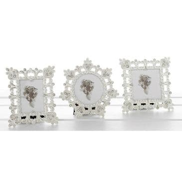 3 x Polished Silver Filigree Mini Photo Frames