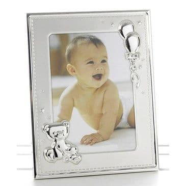 Babies Two Tone Teddy & Balloons Photo Frame
