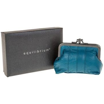 Clip Top Genuine Leather Purse 3 Compartments in Turquoise