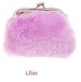 Faux Fur Clasp Top Small Coin Purse -Lilac