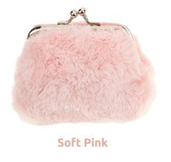 Faux Fur Clasp Top Small Coin Purse - Soft Pink