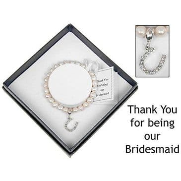 Genuine Fresh Water Pearl Diamante Lucky Horseshoe Bracelet, Optional Detachable Bridesmaid Card