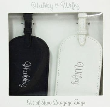 Hubby & Wifey Luggage Tag Gift Set Silver Script Text