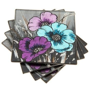 Lilac Purple and Azure Blue Glass Coasters Set of 4 in Toughened Glass