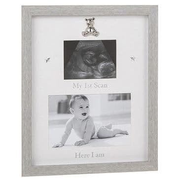 Modern Grey My 1st Scan Here I am Frame Baby Picture Photo Frame with Teddy Stars Decal