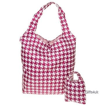 PINK WHITE HOUNDSTOOTH - Handybag Re-Usable Eco Bag