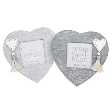 Provence Grey Hearts  Set 2 Mini Photo Frames 3x3