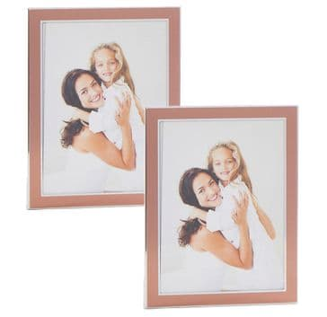 "Set 2 Copper & Silver Mini Photo Frames 2"" x 3"""