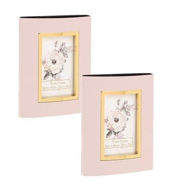"Set 2 Mini Photo Frames 2"" x 3"" Decor Options (Pink Gold Anodised)"