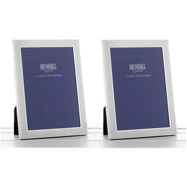 "Set 2 Mini Photo Frames 2"" x 3"" Elegant Satin Silver Traditional"