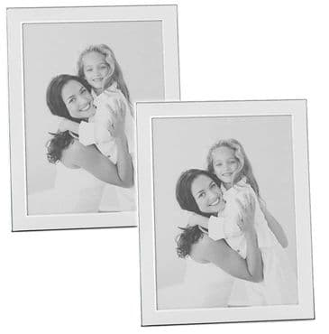 "Set 2 Plain White Silver Mini Photo Frames 2"" x 3"""