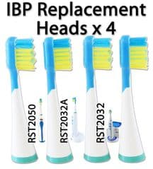 IBP Replacement Toothbrush Heads x 4  Fits RST2032 RST2032A RST2050 RST2031