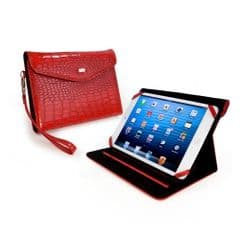 TUFF LUV KINDLE FIRE HD CASE STAND PURSE IN STUNNING GLOSS RED CROCODILE SKIN