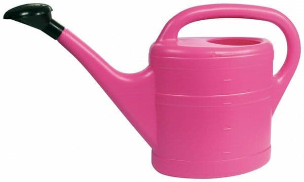 10 Litre Sturdy Eco Friendly Large Pink Plastic Watering Can with Rose