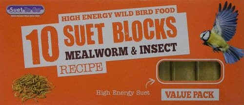 10 Pack of Wild Bird Suet Block Mealworms and Insect 300g for Bird Feeders