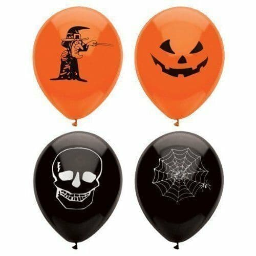 15 x Halloween Party Orange and Black Pumpkin Witch Spider Skull Party Balloons