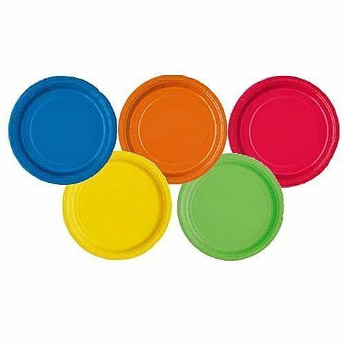"""16 x Red Green Pink Blue Black Orange Gold Silver Party Food 9"""" Paper Plates"""