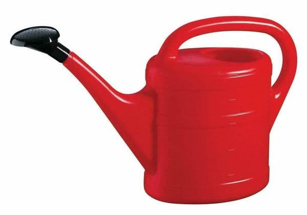 5 Litre Sturdy Eco Friendly Red Plastic Lightweight Watering Can with Rose