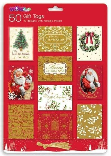 50 Christmas Present Traditional Tie on Gift Tags Labels with Metallic Thread