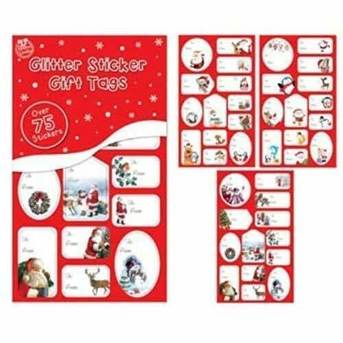 75 Xmas Christmas Present Adhesive Glitter Foil Sticker Gift Labels Name Tags