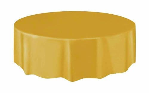 Christmas Party Ideas - Gold 7ft (2.13m) Round Plastic Tablecloth Table Cover