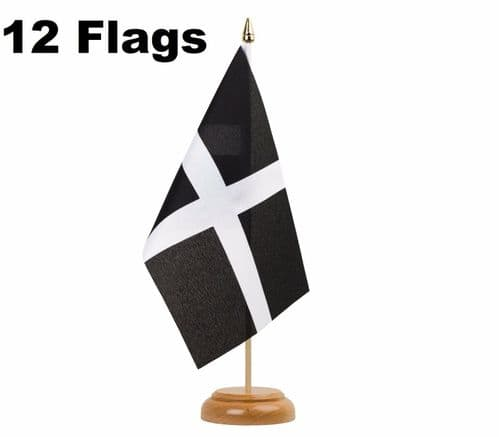 Cornwall St Piran's Day Cornish Kernow Duchy Table or Hand Flags - Pack of 12