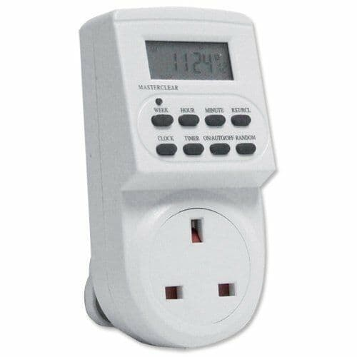 Electronic Digital Mains Timer Socket Plug-in LCD Display 12/24 Hour 7 Day Timer