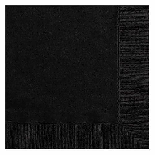 Halloween Party Ideas - 6.5 Inch 20 Pack of Black Party Paper Napkins Serviettes