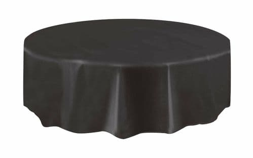 Halloween Party Ideas - Black 7ft (2.13m) Round Plastic Tablecloth Table Cover