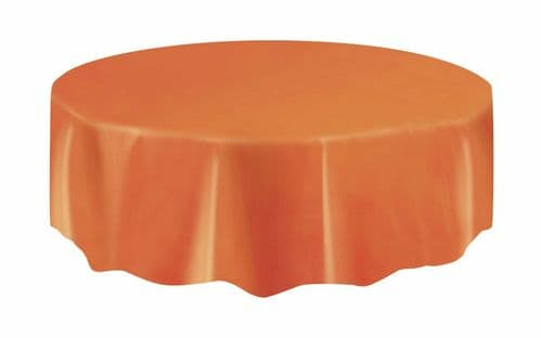 Halloween Party Ideas - Orange 7ft (2.13m) Round Plastic Tablecloth Table Cover