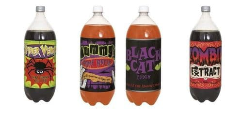 Halloween Party Pop Drinks Bottle Labels, Assorted Pack of 4 Spooky Labels