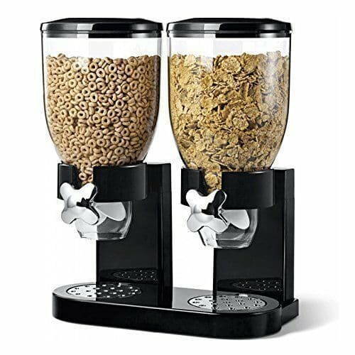 Plastic Classic Dry Food Cereal or Sweet Double Dispenser Canister Clear & Black