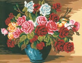 Collection Art D: Tapestry Kit: Bowl of Roses: 22 x 30cm