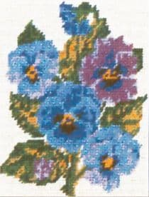 Collection D Art: Tapestry Kit: Pansies: 14 x 18cm