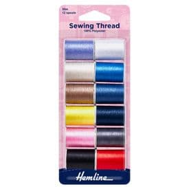 Hemline Sewing Thread - Assorted Colours - 12 x 30m