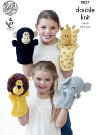King Cole Animal Hand Puppets Knitted with Moments DK & Pricewise DK 9027