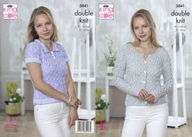 King Cole Calypso DK Ladies Cardigan & Top Pattern 5041