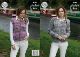 King Cole Cardigan & Waistcoat Pattern Knitted with Drifter DK 4799