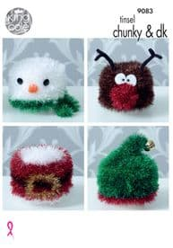 King Cole Christmas Toilet Roll Covers Knitted in Tinsel Chunky & Dolly mix DK 9083