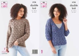 King Cole Ladies Sweaters Pattern Knitted in Island Beaches DK 5738