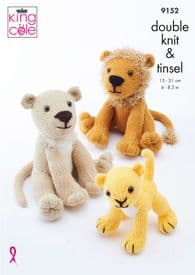 King Cole Lion Family Toy Pattern 9152