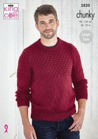 King Cole Men's Sweater & Slipover Pattern Knitted in Big Value Chunky 5820