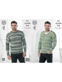 King Cole Round Neck & V Neck Sweater Knitted in Drifter DK 4261