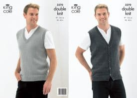 King Cole Slipover and Waistcoat Pattern Knitted in Merino Blend DK 3270