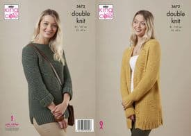 King Cole Subtle Drifter DK Ladies Sweater & Cardigan Pattern 5672