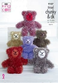 King Cole Tinsel Teddies Knitted in Tinsel Chunky & Dollymix DK 9107