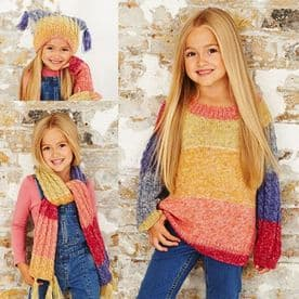 Stylecraft Batik Swirl Child's Sweater, Scarf & Hat Pattern 9484