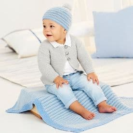 STYLECRAFT CARDIGAN, BLANKET & HAT PATTERN KNITTED WITH BAMBINO DK 9530