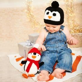 STYLECRAFT PENGUIN, HAT AND BLANKET PATTERN  KNITTED WITH WONDERSOFT STARDUST DK 9578